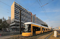 Apartment blocks and U-Bahn in the district of the Marienkirche or St Mary's Church, Berlin, Germany. Picture by Manuel Cohen