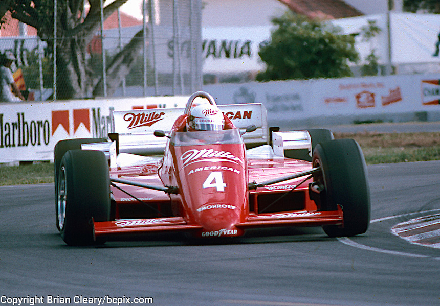 #4 March 85C Coswoorth, Danny Sullivan, winner, 1st place, Beatrice Indy Challenge, Tamiami Park, Miami, FL, November 9, 1985.  (Photo by Brian Cleary/www.bcpix.com)
