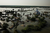 On the outskirts of Shikarpur the flood continues it havoc, clearing entire towns of their populations and destroying millions of acres of arable and cultivated lands. Millions are on the move as a result and remain unsure when they will be able to return.