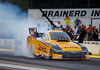Aug 19, 2016; Brainerd, MN, USA; NHRA funny car driver Del Worsham during qualifying for the Lucas Oil Nationals at Brainerd International Raceway. Mandatory Credit: Mark J. Rebilas-USA TODAY Sports