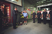 United States President George W. Bush visits with firefighters at Engine Co. 55 in New York City,  Wednesday, October 3, 2001..Mandatory Credit: Eric Draper - White House via CNP.