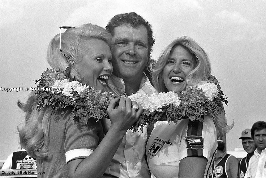 Buddy Baker in Victory Lane after winning a 1976 IROC race at Michigan International Speedway near Brooklyn, Michigan.
