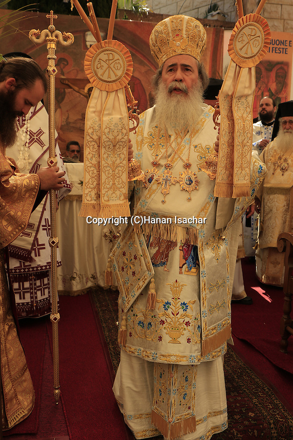 Israel, Nazareth, the Greek Orthodox Patriarch of Jerusalem Theophilus III presides over the Feast of the Annunciation at the Greek Orthodox Church of the Annunciation, the Church of St. Gabriel