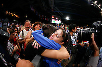 September 7, 2007; Stuttgart, Germany;  Vanessa Ferrari of Italy embraces a family member after All-Around final in women's artistic gymnastics at 2007 World Championships. Ferrari tied for 3rd in the AA. Photo Copyright 2007 Tom Theobald