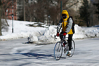 A man rides his bike inside central park during low temperatures in New York. 16.02.2015. Eduardo Munoz Alvarez/VIEWpress.