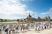 Picture by Alex Broadway/ASO/SWpix.com - 24/07/16 - Cycling - Tour de France 2016 - Stage Twenty-One - Chantilly to Paris Champs-&Eacute;lys&eacute;es - The peloton passes Ch&acirc;teau de Chantilly.<br /> NOTE : FOR EDITORIAL USE ONLY. COMMERCIAL ENQUIRIES IN THE FIRST INSTANCE TO simon@swpix.com THIS IS A COPYRIGHT PICTURE OF ASO. A MANDATORY CREDIT IS REQUIRED WHEN USED WITH NO EXCEPTIONS to ASO/ALEX BROADWAY