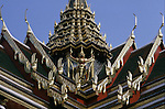 Multicolored title roofs shows the craftsmanship of the temple builders  within the Grand Palace Complex in Bangkok, Thailand. (Jim Bryant Photo).....