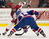 Alex Fallstrom (Harvard - 16), Joseph Pendenza (UML - 14) - The visiting University of Massachusetts Lowell River Hawks defeated the Harvard University Crimson 5-0 on Monday, December 10, 2012, at Bright Hockey Center in Cambridge, Massachusetts.