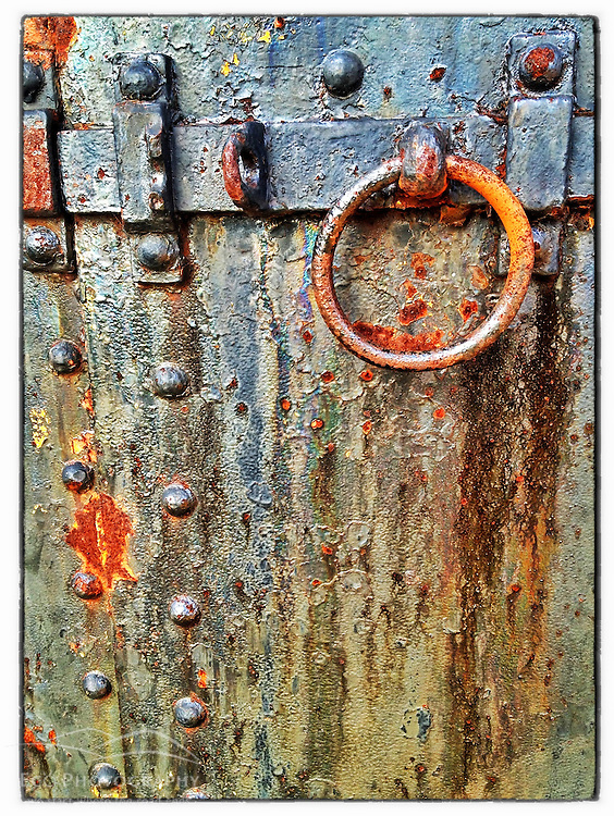 "Iron door on Lytle Battery at Fort Stark State Historic Site in New Castle, New Hampshire. iPhone photo - suitable for print reproduction up to 8"" x 12""."
