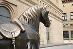 Horse Sculpture outside the Lonja Building; Zaragoza; Saragossa; Aragon; Spain