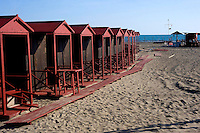 Lido di Ostia, Roma<br /> Gli stabilimenti balneari  si preparano per la stagione estiva<br /> Lido di Ostia, Rome<br /> The bathing facilities are preparing for the summer season.