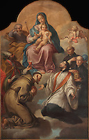 Virgin and child with Saints, painting, 1760-1800, by Pedro Alexandrino de Carvalho, 1729-1810, in the Museu Nacional de Machado de Castro, Coimbra, Portugal. The museum was opened in 1913 and renovated 2004-2012. The city of Coimbra dates back to Roman times and was the capital of Portugal from 1131 to 1255. Its historic buildings are listed as a UNESCO World Heritage Site. Picture by Manuel Cohen