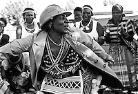 IPLM0030 , South Africa, Soweto, June 2001. Mrs Mudau performs traditional Venda dances. She and her troupe perform at weddings and other functions to promote and preserve their traditional culture.
