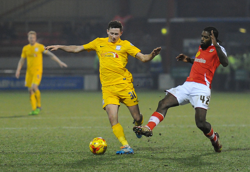 Preston North End's Alan Browne under pressure from Crewe Alexandra's Anthony Grant<br /> <br /> Photographer Craig Thomas/CameraSport<br /> <br /> Football - The Football League Sky Bet League One - Crewe Alexandra v Preston North End - Sunday 28th December 2014 - Alexandra Stadium - Crewe<br /> <br /> &copy; CameraSport - 43 Linden Ave. Countesthorpe. Leicester. England. LE8 5PG - Tel: +44 (0) 116 277 4147 - admin@camerasport.com - www.camerasport.com