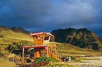 Lifeguard Tower, West Side, Oahu, Hawaii..photo:  joliphotos.com