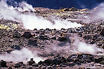 Steam rising from rim of the Halema'uma'u Crater, Kilauea Caldera, Hawaii Volcanoes National Park, Hawaii USA