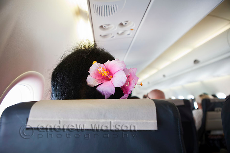 Hibisicus flower in the hair of a Torres Strait islander woman on a flight.  Thursday Island, Torres Strait, Queensland, Australia