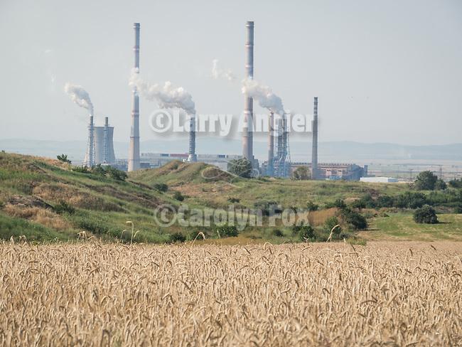 Wheat field, coal-fired power station, Kovacevo, Bulgaria