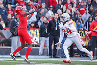 College Park, MD - November 12, 2016: Maryland Terrapins wide receiver Levern Jacobs (8) catches a pass during game between Ohio St. and Maryland at  Capital One Field at Maryland Stadium in College Park, MD.  (Photo by Elliott Brown/Media Images International)