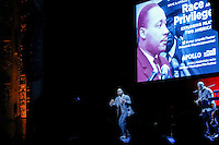 Marc Bamuthi Joseph and Daniel Bernard Roumain perform during a event to commemorate Martin Luther King's day at the Apollo Theater in New York. 17.01.2016. Kena Betancur/VIEWpress.