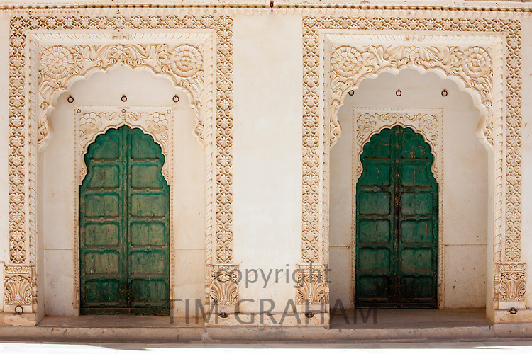 Moti Mahal, doors to the Zenana Deodi harem at Mehrangarh Fort  at Jodhpur in Rajasthan, Northern India
