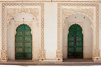 Moti Mahal, doors to the Zenana Deodi harem at Mehrangarh Fort  at Jodhpur in Rajasthan, Northern India
