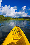 Kayak on the tranquil Hanalei River, Island of Kauai, Hawaii USA