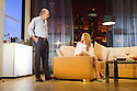 """London, UK. 30.09.2014. """"Speed-the-Plow"""", by David Mamet, directed by Lindsay Posner, starring Lindsay Lohan, opens at the Playhouse Theatre. Picture shows: Richard Schiff (Bobby Gould) and Lindsay Lohan (Karen). Photograph © Jane Hobson."""