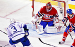 10 April 2010: Montreal Canadiens' goaltender Jaroslav Halak gives up the game winning goal to defenseman Dion Phaneuf during the last game of the regular season against the Toronto Maple Leafs at the Bell Centre in Montreal, Quebec, Canada. The Leafs defeated the Habs 4-3 in sudden death overtime as the Canadiens advance to the Stanley Cup Playoffs with the single point. Mandatory Credit: Ed Wolfstein Photo
