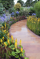 Blue and yellow themed perennial garden borders