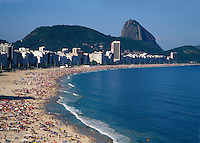 Copacabana Beach  with Sugar Loaf in background, Rio de Janeiro, Brazil