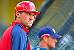 12 March 2009: Washington Nationals' third baseman Ryan Zimmerman looks down the first base line prior to a Spring Training game against the Atlanta Braves at Disney's Wide World of Sports in Orlando, Florida. The Braves defeated the Nationals 6-2 in the Grapefruit League matchup. Mandatory Photo Credit: Ed Wolfstein Photo