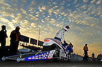 Sept. 28, 2012; Madison, IL, USA: NHRA pro stock motorcycle rider Hector Arana Jr during qualifying for the Midwest Nationals at Gateway Motorsports Park. Mandatory Credit: Mark J. Rebilas-