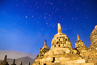 Stars over Borobudur, Indonesia, in the early morning.