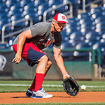 28 May 2016: Washington Nationals first baseman Ryan Zimmerman warms up prior to facing the St. Louis Cardinals at Nationals Park in Washington, DC. The Cardinals defeated the Nationals 9-4 to take a 2-games to 1 lead in their 4-game series. Mandatory Credit: Ed Wolfstein Photo *** RAW (NEF) Image File Available ***