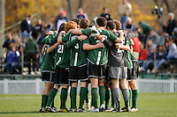 Dartmouth Big Green huddle before the start of the second half. Dartmouth defeated Monmouth 4-0 during the first round of the 2010 NCAA Division 1 Men's Soccer Championship on the Great Lawn of Monmouth University in West Long Branch, NJ, on November 18, 2010.