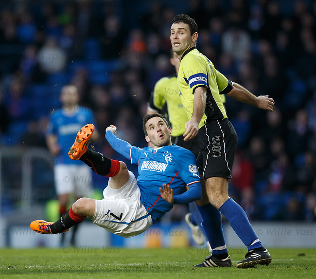 Nicky Clark nudged in the box by Stranraer captain Frank McKeown as the striker gets a shot away and ref Andrew Dallas awards a penalty to Rangers