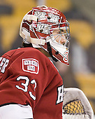 Kyle Richter (Harvard - 33) - The Northeastern University Huskies defeated the Harvard University Crimson 4-0 in their Beanpot opener on Monday, February 7, 2011, at TD Garden in Boston, Massachusetts.