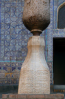 Detail of column in semi-open aiwan, tiled in majolica, Kurinish Khana or Throne Room, 1804-06, Kukhna Ark, Khiva, Uzbekistan, pictured on July 6, 2010, in the afternoon. The Kukhna Ark is the original home of the Khans. Although its foundations are 5th century, most of the complex is 19th century. The Kurinish Khana (throne room) 1804-06, has an arcade or aiwan, where audiences were held in the open air in summer and enclosed by a yurt in winter. Khiva, ancient and remote, is the most intact Silk Road city. Ichan Kala, its old town, was the first site in Uzbekistan to become a World Heritage Site(1991). Picture by Manuel Cohen.