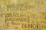 Eton college school, boys names carved on the walls of the cloisters. Eton near nr Windsor Berkshire. England 2006
