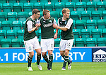 Hibs v St Johnstone...25.08.12   SPL.Paul Hanlon, Paul Cairney and David Wotherspoon celebrate as they look across to the linesman to see if he is giving the goal.Picture by Graeme Hart..Copyright Perthshire Picture Agency.Tel: 01738 623350  Mobile: 07990 594431