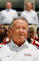 TALLAHASSEE, FL. 8/9/09-FSU-BOWDEN 0809 CH07-Florida State Coach Bobby Bowden poses with the team ofr their group photo during media day Sunday in Tallahassee...COLIN HACKLEY PHOTO