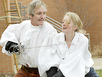 WSU senior Kelly Brumbach (right) and acting movement professor Bruce Cromer put on a demonstration outside the Creative Arts Center during the 12th Annual ArtsGala, Saturday, April 2, 2011.