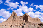 Eroded spires in the badlands near Cedar Pass, Badlands National Park, South Dakota USA