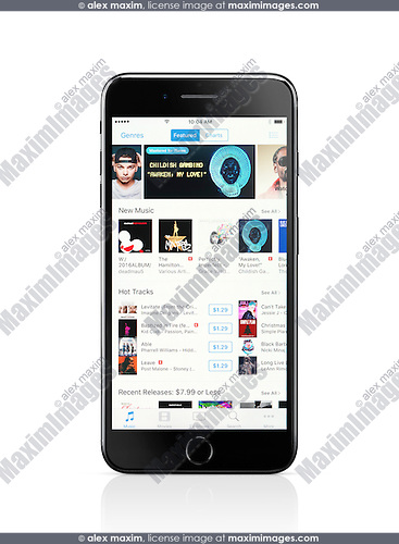 Apple iPhone 7 Plus with iTunes music store on its display isolated on white background with clipping path
