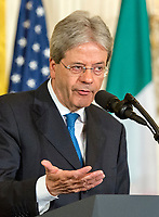 Prime Minister Paolo Gentiloni of Italy conducts a joint press conference with United States President Donald J. Trump in the East Room of the White House in Washington, DC on Thursday, April 20, 2017.<br /> CAP/MPI/RS<br /> &copy;RS/MPI/Capital Pictures