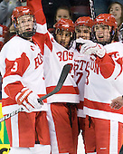 Adam Clendening (BU - 4), Sahir Gill (BU - 28), Matt Nieto (BU - 17), Garrett Noonan (BU - 13) - The visiting Northeastern University Huskies defeated the Boston University Terriers 5-4 on Sunday, March 13, 2011, to win their Hockey East Quarterfinal matchup 2 games to 1 at Agganis Arena in Boston, Massachusetts.