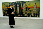 Bernard Buffet French artist expressionist painter (1928-1999) France Circa 1995. German woman at opening of his one man exhibition  Kassal Germany