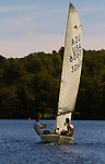 MIDDLEBURY, CT - 22 AUGUST 2015 - 082215JW10.jpg -- Peter and Pierce Wolcott of Woodbury look for the wind during the first race of The Board of Governor's Regatta at Lake Quassapaug Saturday afternoon. Jonathan Wilcox Republican-American