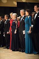 Le roi Philippe de Belgique et la reine Mathilde de Belgique en visite d'Etat au Danemark, lors de la soir&eacute;e &quot; The Black Diamond &quot;, en pr&eacute;sence du Prince Joachim de Danemark  la princesse Marie de Danemark, la princesse Mary de Danemark, le Prince Frederik de Danemark et la reine Margrethe II de Danemark.<br /> Danemark, Copenhague, 30 mars 2017.<br /> King Philippe of Belgium &amp; Queen Mathilde of Belgium during a State Visit to Copenhagen in Denmark are attending The Black Diamond event, with Crown Prince Joachim of Denmark,  Princess Marie of Denmark, princess Mary of Denmark, Prince Frederik of Denmark and Queen Margrethe II of Denmark.<br /> Denmark, Copenhagen, March 30, 2017.